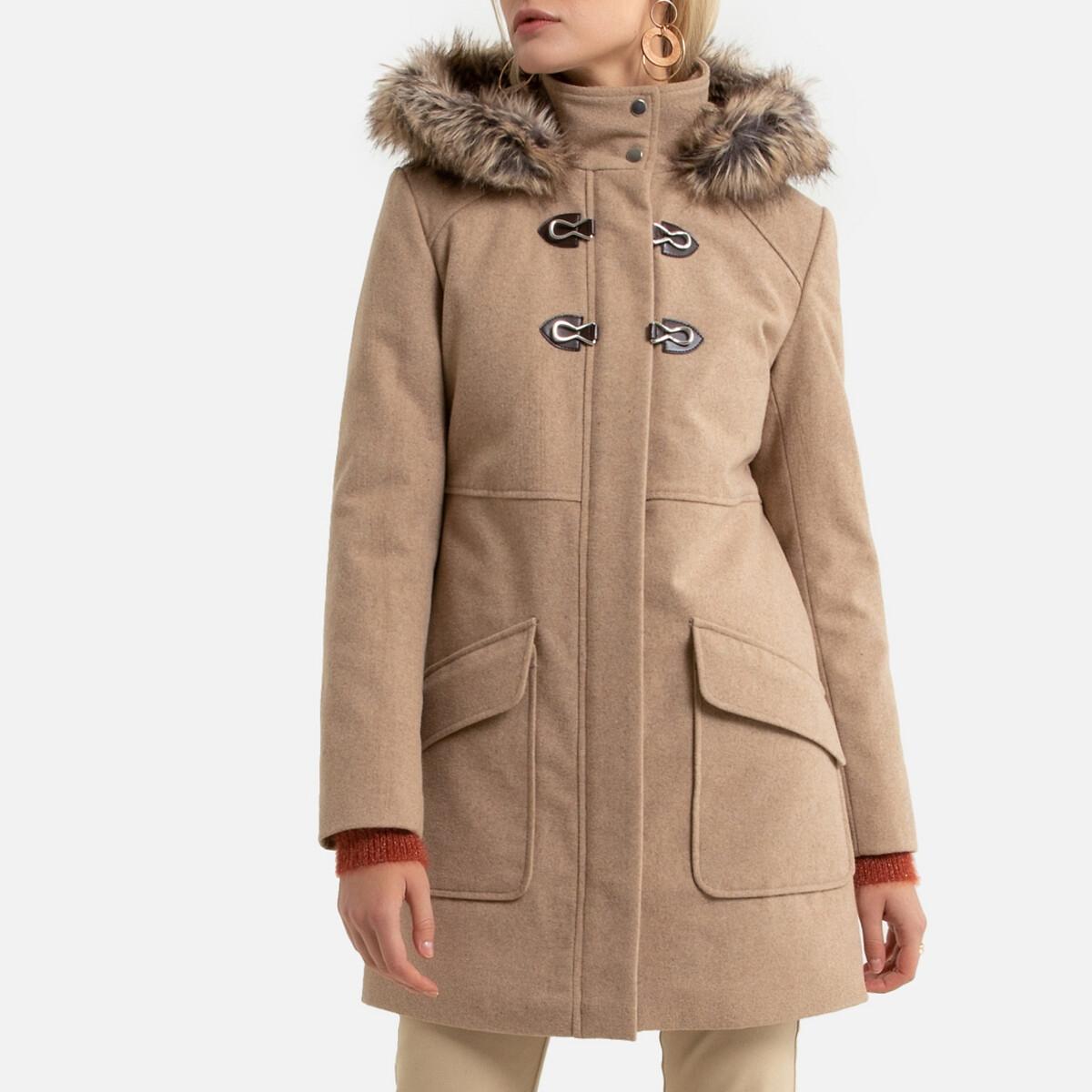Пальто LaRedoute Средней длины с капюшоном и застежкой на молнию 40 (FR) - 46 (RUS) бежевый