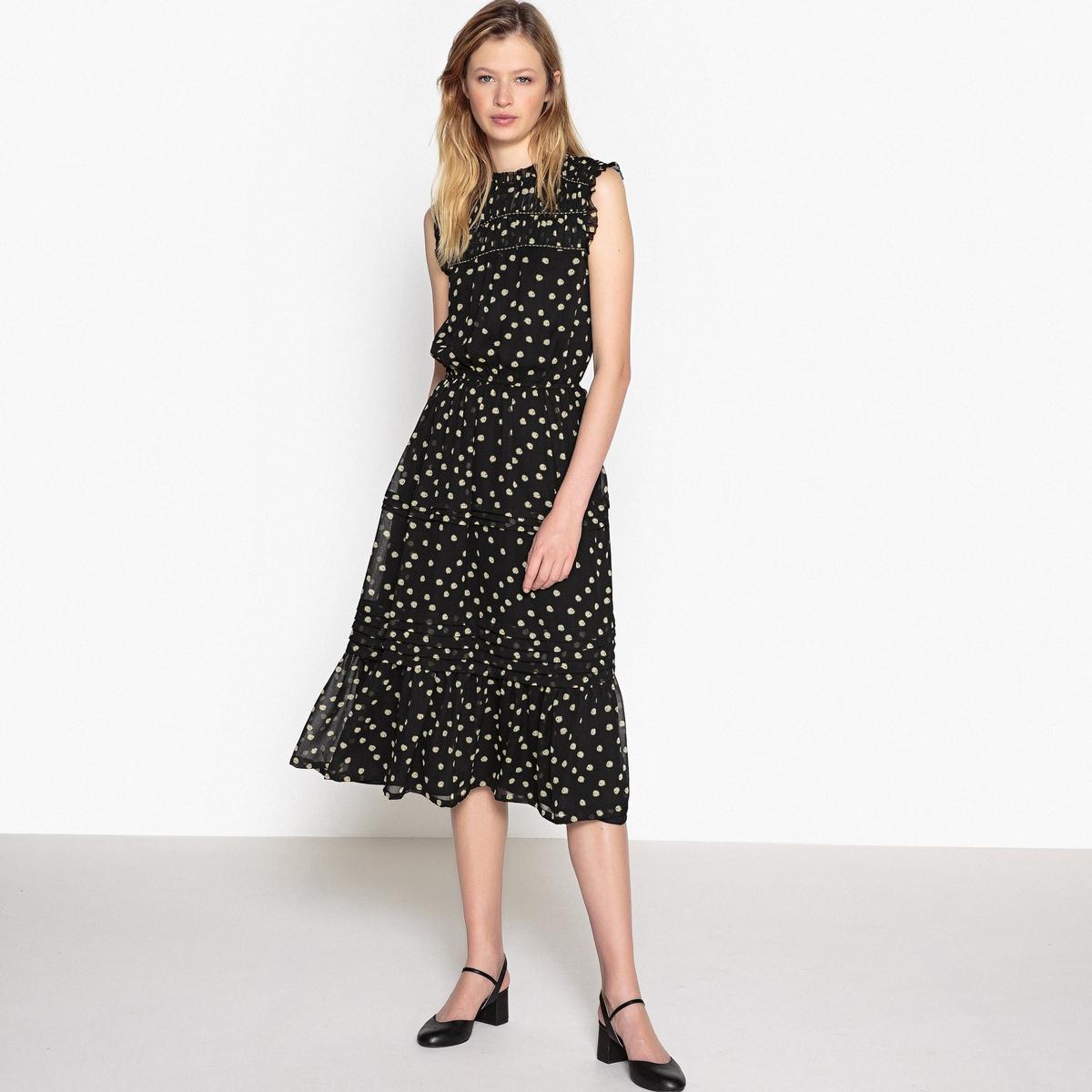Платье-миди без рукавов из вуали с рисунком