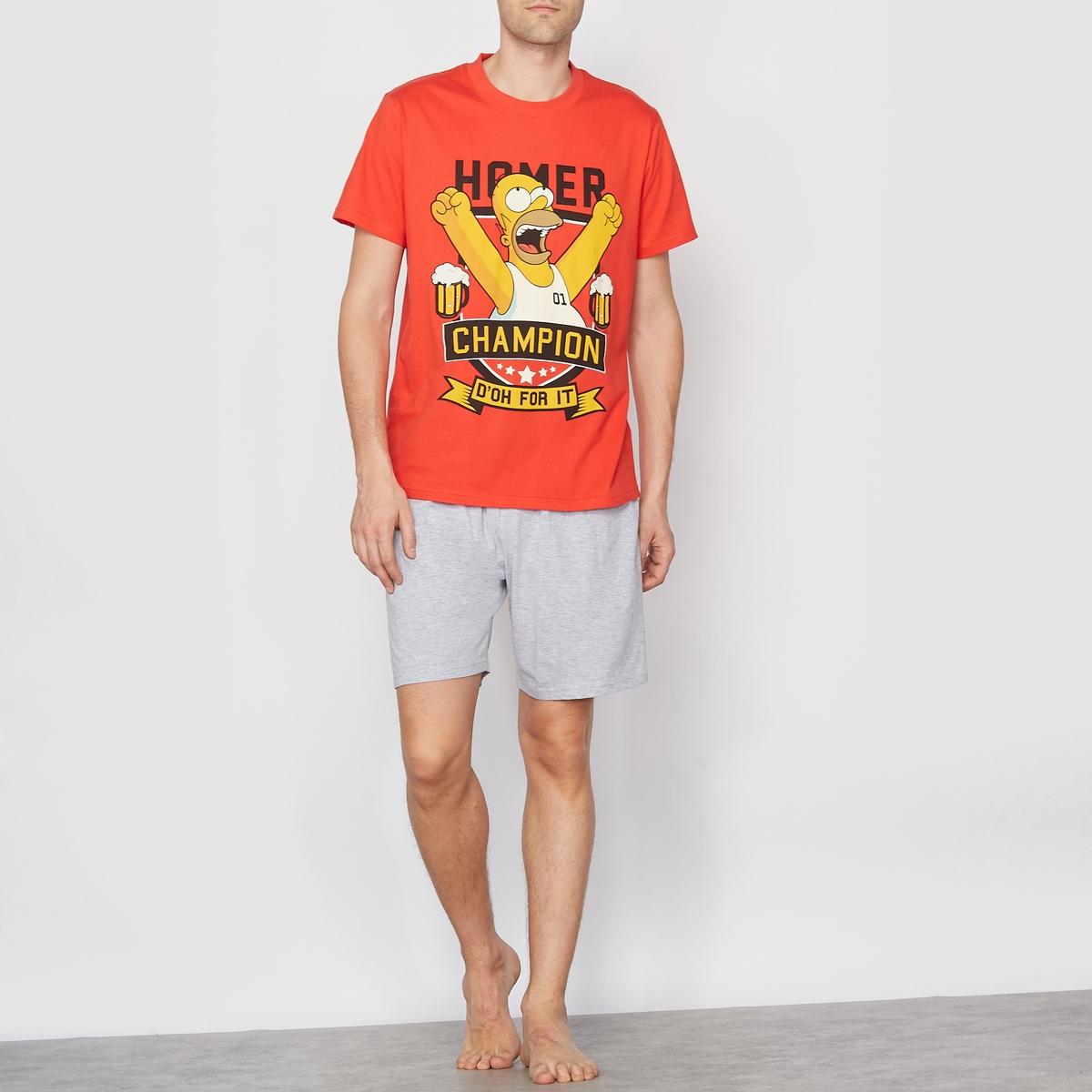 Пижама с шортамиПижама с шортами HOMER SIMPSONS. Футболка с короткими рукавами. Прямой покрой, круглый вырез. Шорты с эластичным поясом.       Состав &amp; Детали :Материал : 93% хлопка, 7% полиэстера.Марка : SIMPSONS.Уход :Машинная стирка при 30 °ССтирать вместе с одеждой подобных цветов.<br><br>Цвет: серый меланж/красный