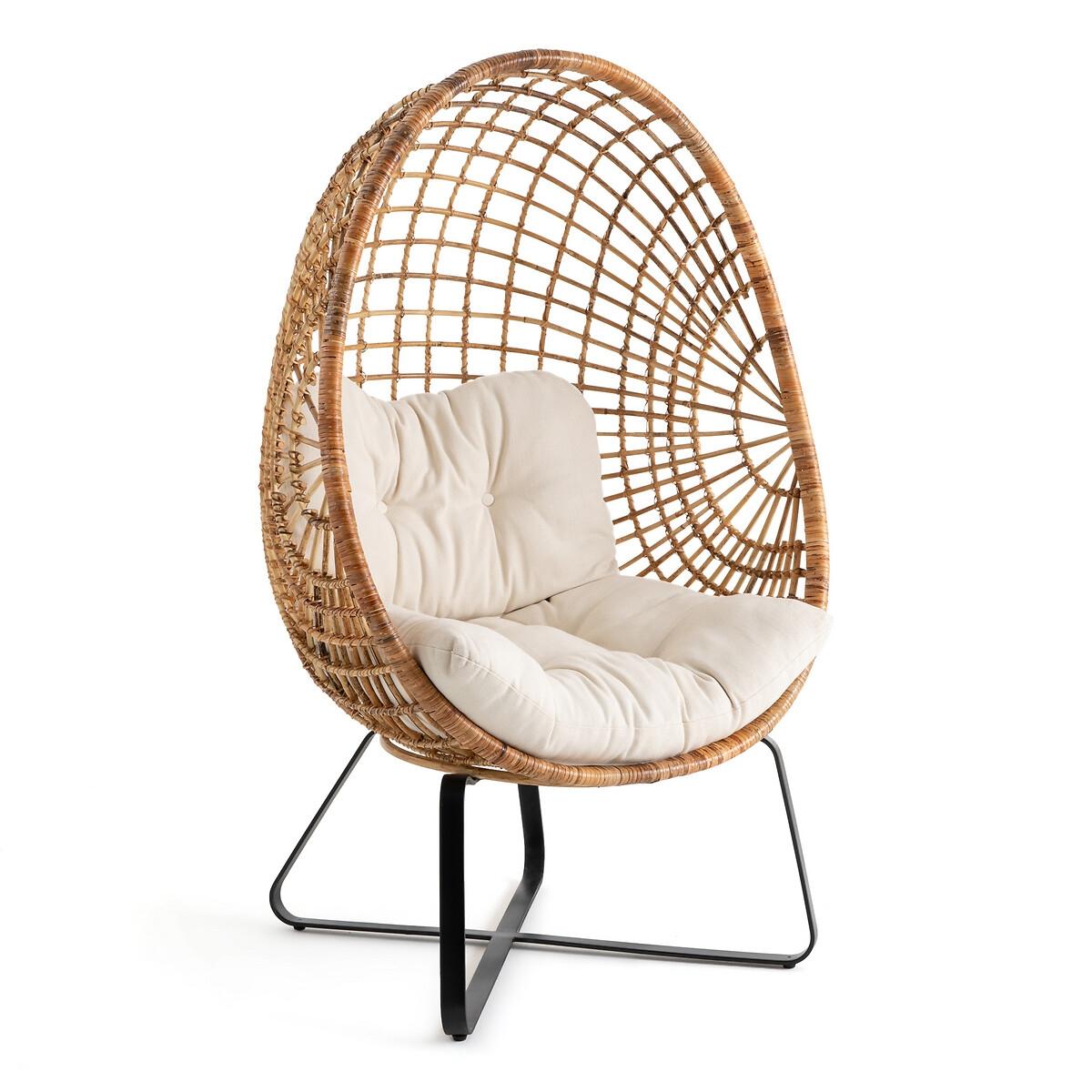 Кресло LaRedoute В виде яйца из ротанга на ножках Finlo единый размер бежевый