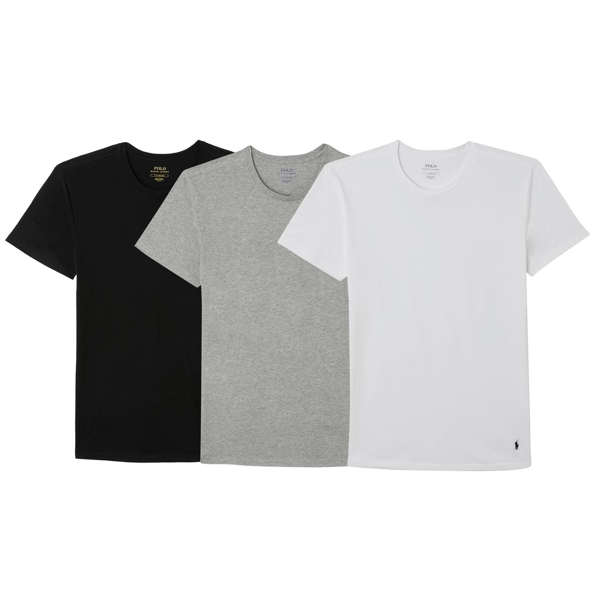 Комплект из однотонных футболок La Redoute С короткими рукавами S белый