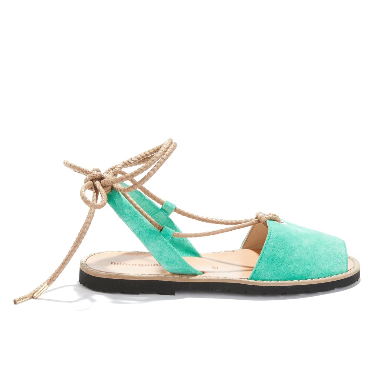 Босоножки La Redoute Кожаные на плоском каблуке Avarca Formentera Emeraude 37 зеленый цены онлайн