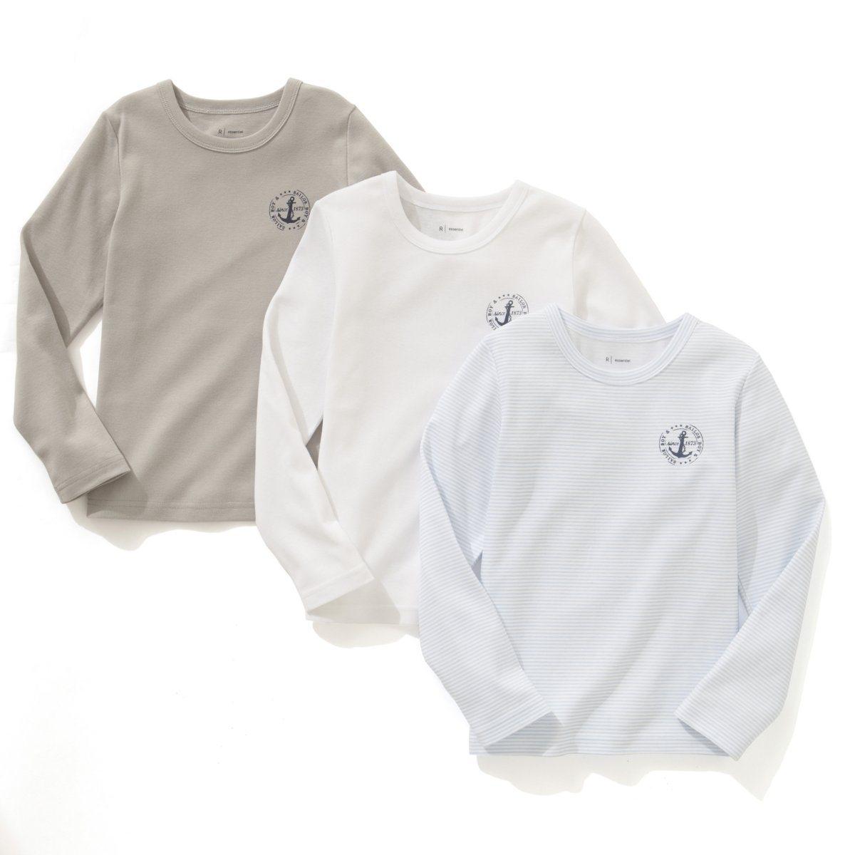 3 футболки1 в полоску + 2 однотонные. Принт на груди. В рубчик 1 х 1, 100% хлопка. Длинные рукава.<br><br>Цвет: белый + серый + в синюю полоску<br>Размер: 10/12 лет - 138/150 см.4/5 лет - 102/108 см