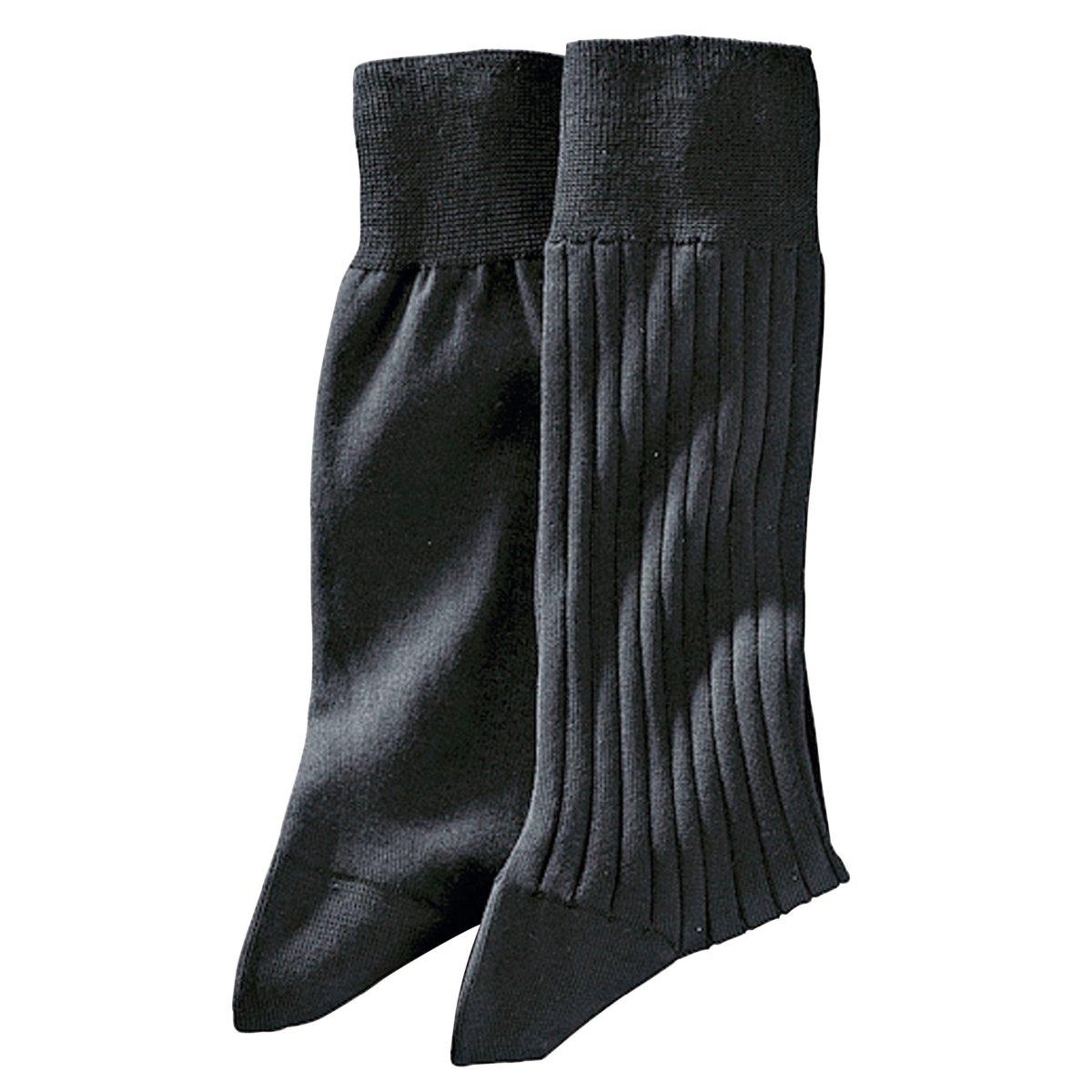 Комплект из 2 пар носков, 100% фильдекосНоски, 100% фильдекос* (крученая хлопчатобумажная пряжа). Прочный и изящный на вид материал, который дарит ощущение прохлады. 1 пара из джерси + 1 пара в рубчик.* Фильдекос:Натуральная тонкая пряжа,  скручиваемая из нескольких ниток, которую используют только для производства носков самого высокого качества : Чтобы пряжа получила право носить имя фильдекос, она должна пройти 5 ступеней обработки :- Она производится только из длинных волокон хлопка.- Затем хлопок прочесывают, чтобы удалить все посторонние включения.- Операция опаливания позволяет устранить с поверхности все выступающие кончики, а значит, предотвратить скатывание ткани в дальнейшем.- Кручение пряжи, когда из двух нитей получают одну, значительно повышает ее прочность.-  Наконец, мерсеризация придает ткани превосходную способность впитывать влагу тела (лучше, чем у классического хлопкового волокна), а также дарит ткани мягкость и атласный внешний вид.Чтобы дольше сохранить превосходное качество изделия, рекомендуем стирать его, вывернув наизнанку.<br><br>Цвет: черный<br>Размер: 41/42.45/46.39/40.43/44