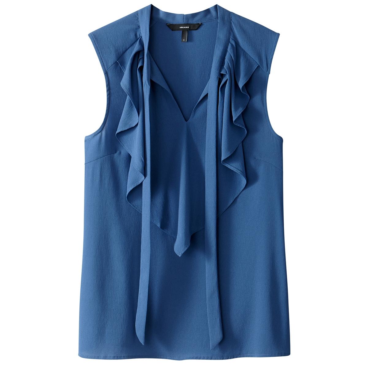 Блузка однотонная с галстуком-бантом без рукавовДетали •  Без рукавов •  Галстук-бантСостав и уход •  100% полиэстер •  Следуйте советам по уходу, указанным на этикетке<br><br>Цвет: белый,синий индиго,черный