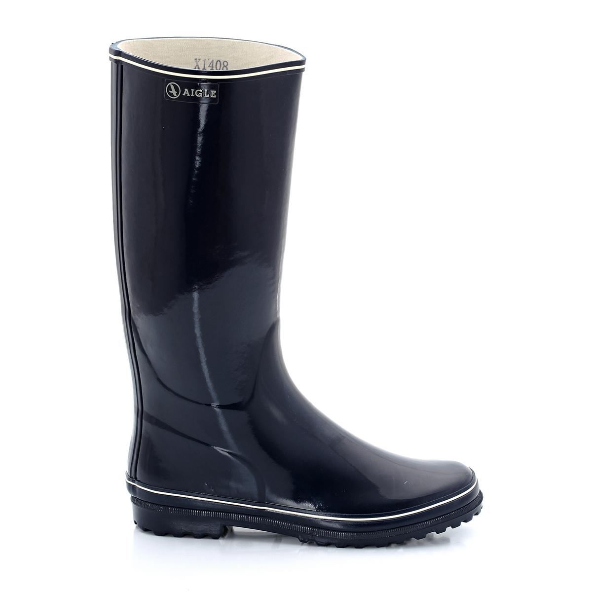 Сапоги резиновые блестящиеСтильные резиновые сапоги с лакированным эффектом для прогулок под дождём!<br><br>Цвет: темно-синий + белый,черный + белый<br>Размер: 37.41.40.36