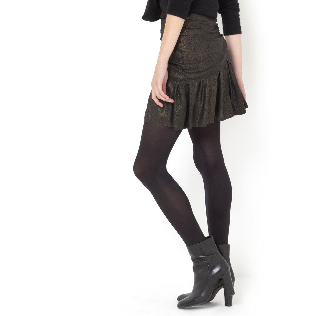 Юбка блестящая с металлизированной нитьюБлестящая юбка - SOFT GREY. Юбка блестящая с металлизированной нитью, с драпировкой и складками . Эластичный пояс . 100% вискозы . Длина 42 см .<br><br>Цвет: черный<br>Размер: 42 (FR) - 48 (RUS)