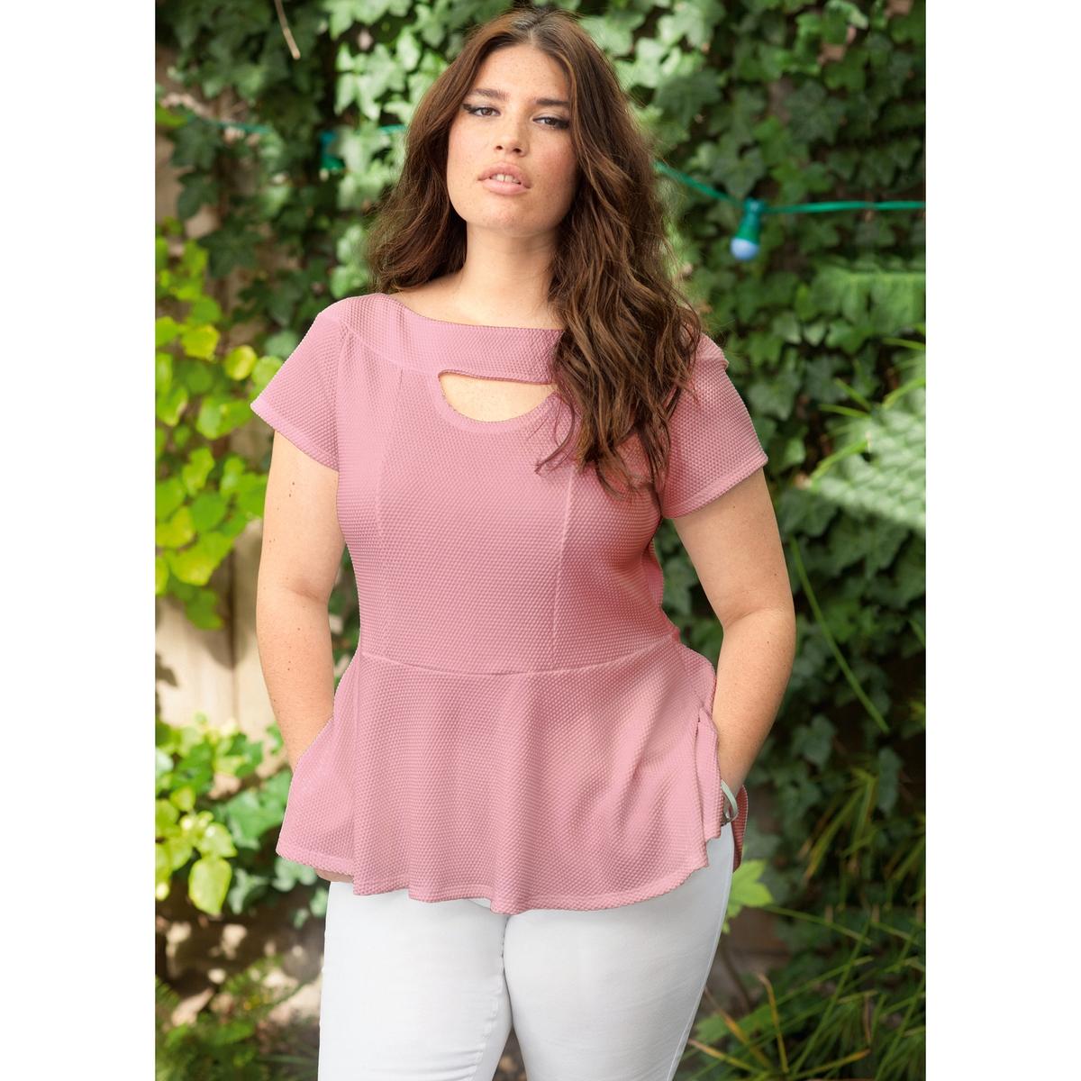 Футболка с баскойФутболка . Открытые плечи и баска придают этому топу женственности! Короткие рукава. Из рельефного трикотажа, 60% полиэстера, 37% хлопка, 3% эластана. Длина ок.66 см .<br><br>Цвет: розовый<br>Размер: 54/56 (FR) - 60/62 (RUS).46/48 (FR) - 52/54 (RUS)