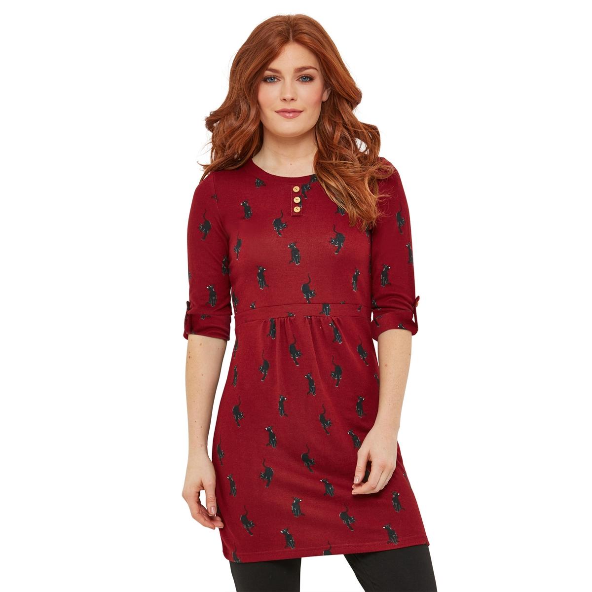 Платье La Redoute Короткое расклешенное с круглым вырезом и рукавами 40 (FR) - 46 (RUS) красный платье la redoute короткое расклешенное с короткими рукавами 46 fr 52 rus красный