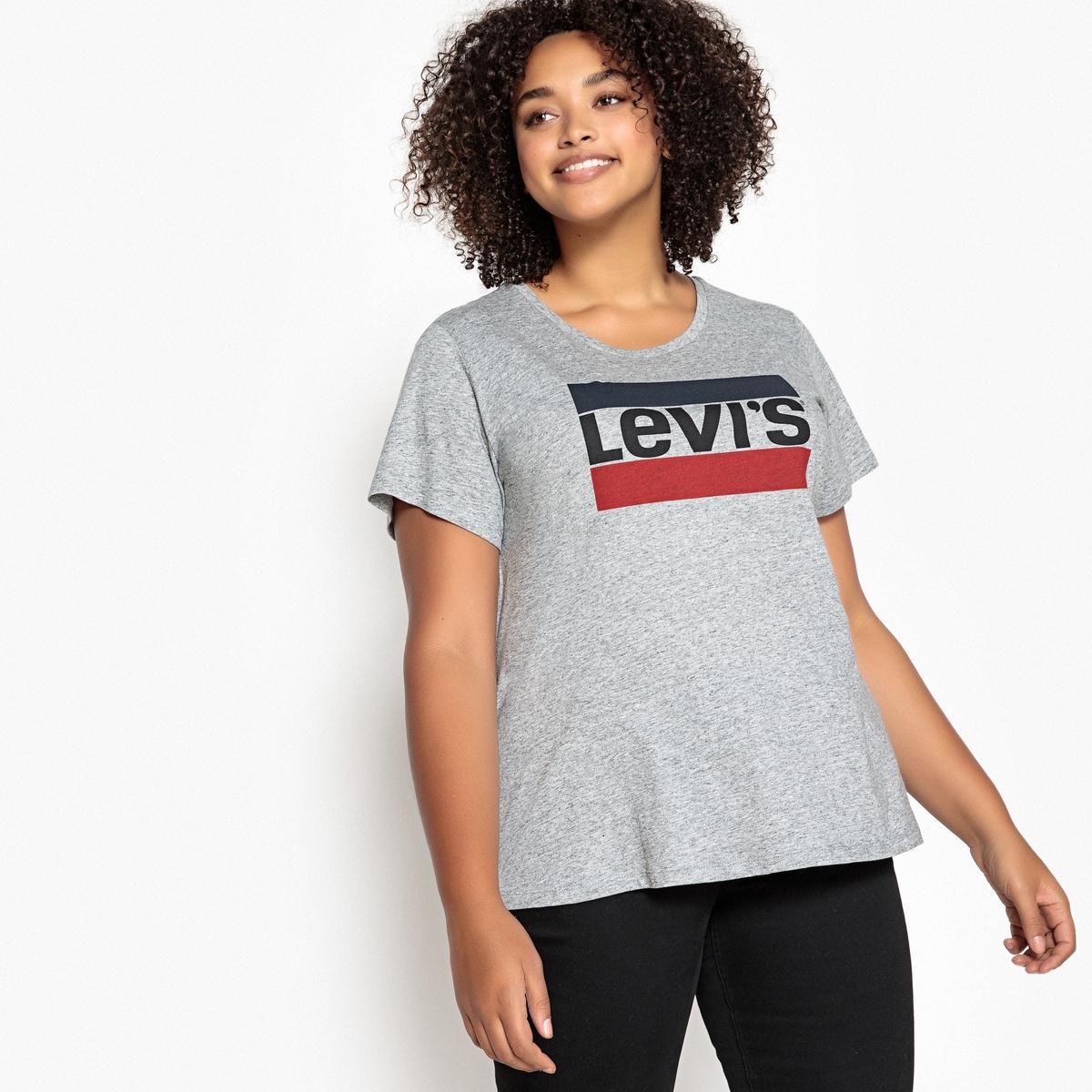 LEVI'S PLUS - Camiseta lisa con cuello redondo, manga corta
