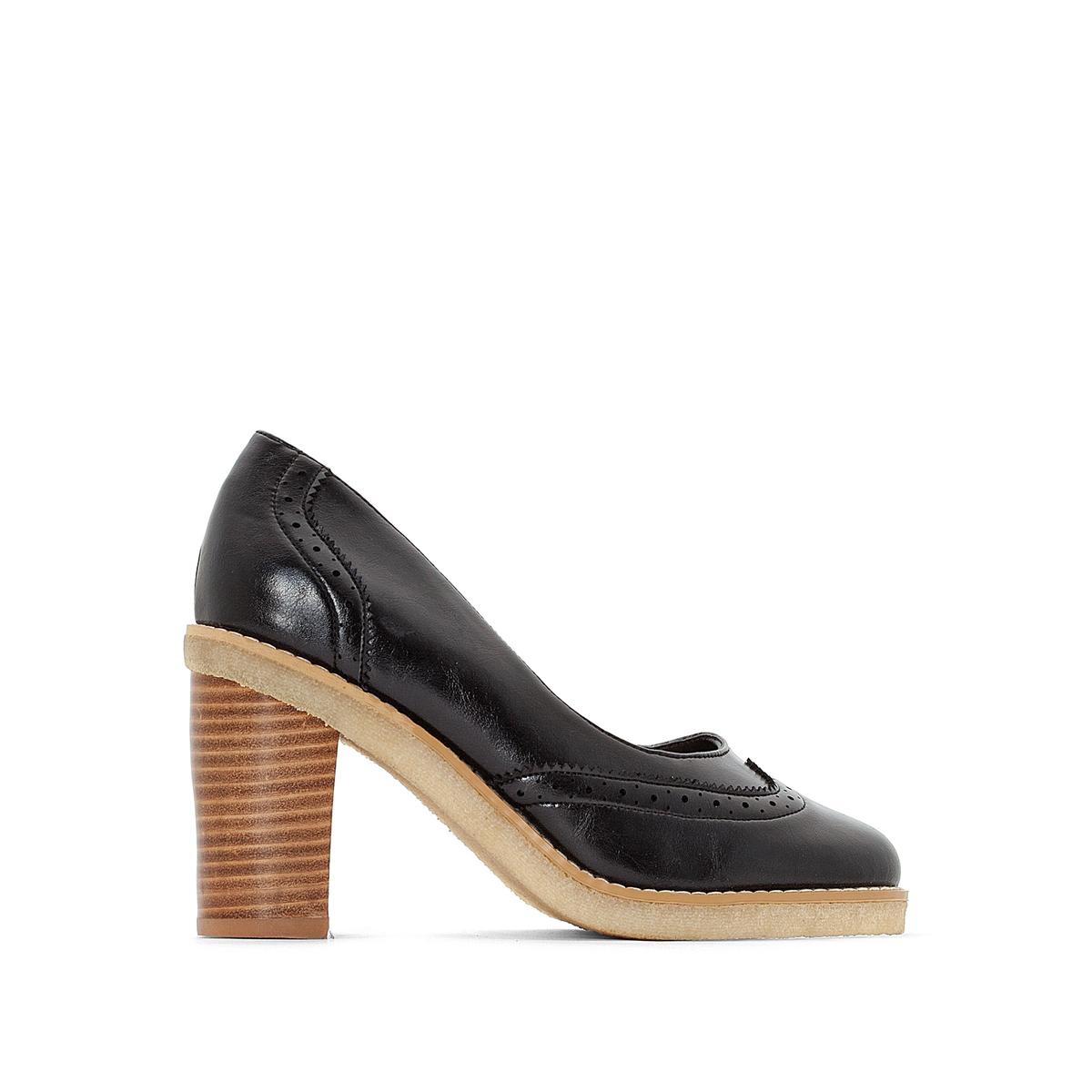 Туфли La Redoute Кожаные на высоком каблуке 35 черный ботильоны челси la redoute кожаные на высоком каблуке 36 черный