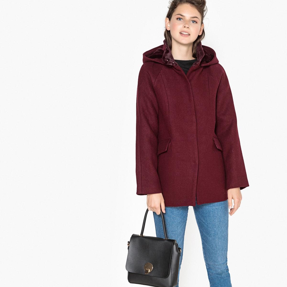Abrigo con capucha con mezcla de lana