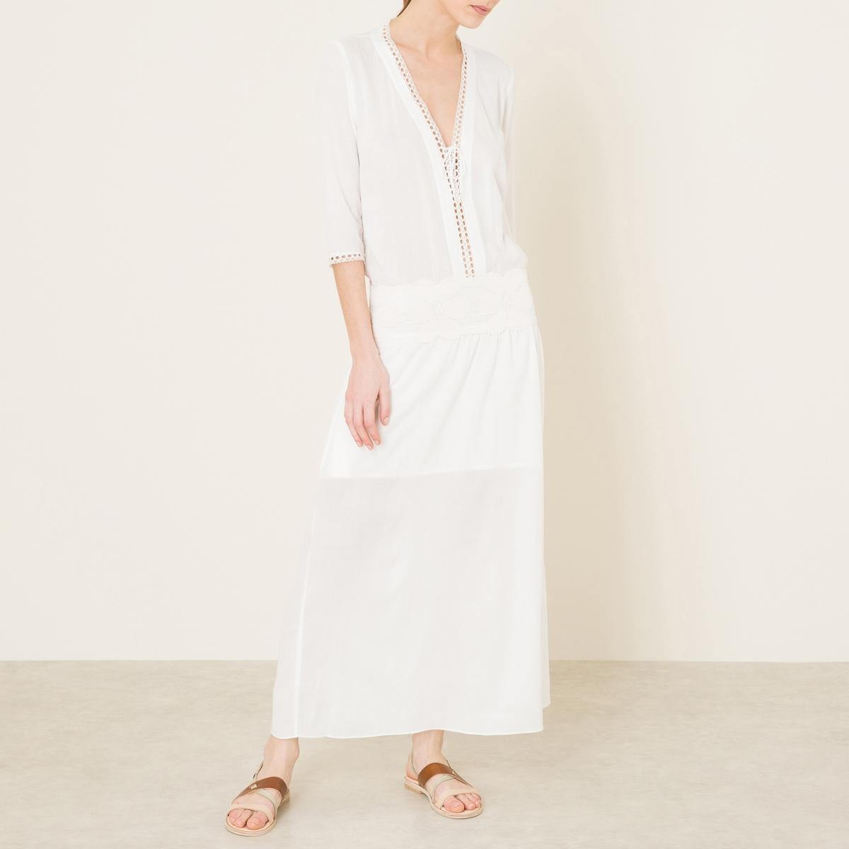 Платье ALAMOСостав и описание Материал : 50% хлопка, 50% вискозыДлина : 145 см. для размера 36Марка : VALERIE KHALFON<br><br>Цвет: белый