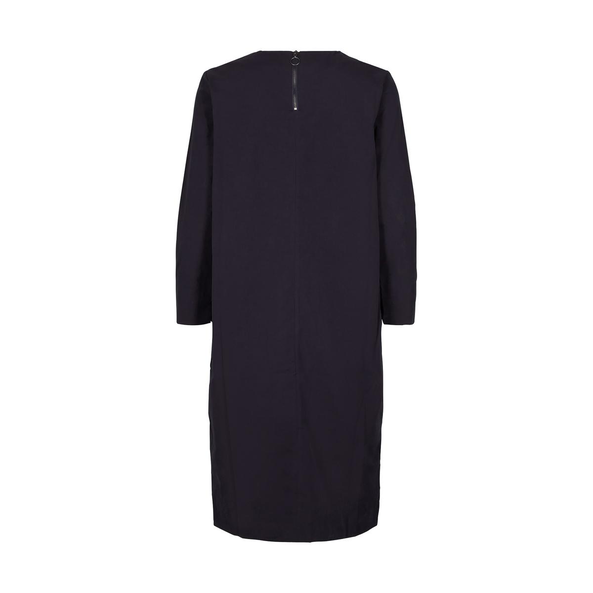 Платье однотонное прямого и короткого покроя с длинными рукавами от AND LESS