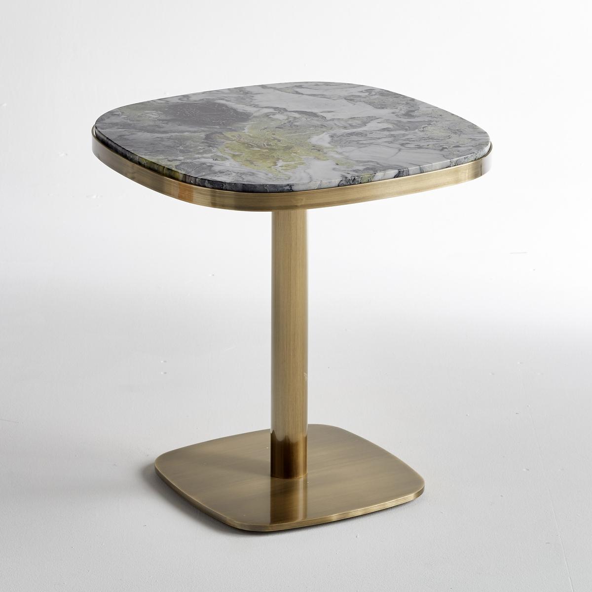 Столик LaRedoute Круглый Lixfeld из мрамора единый размер желтый