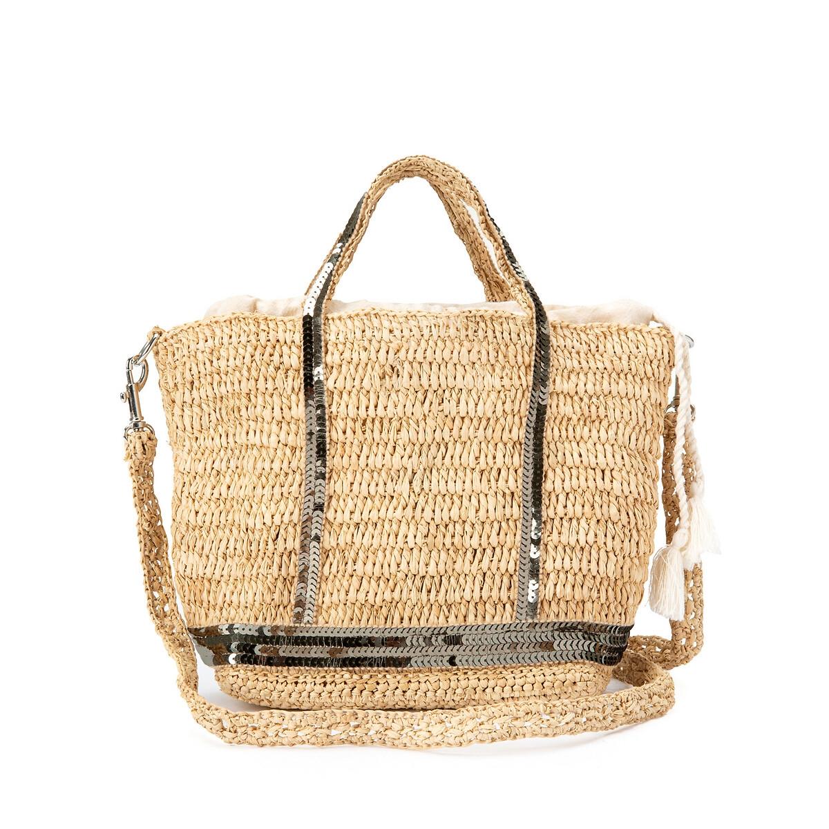 Фото - Сумка-шоппер La Redoute Маленького размера с блестками и плечевым ремнем единый размер зеленый сумка шоппер средняя из парусины с блестками