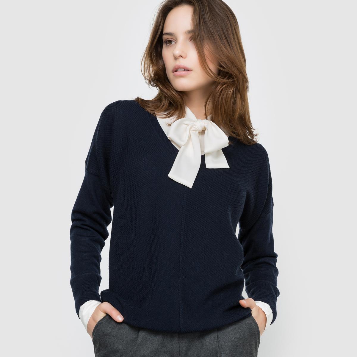 Фото Пуловер с V-образным вырезом из шерсти мериноса Qualité Best. Купить с доставкой