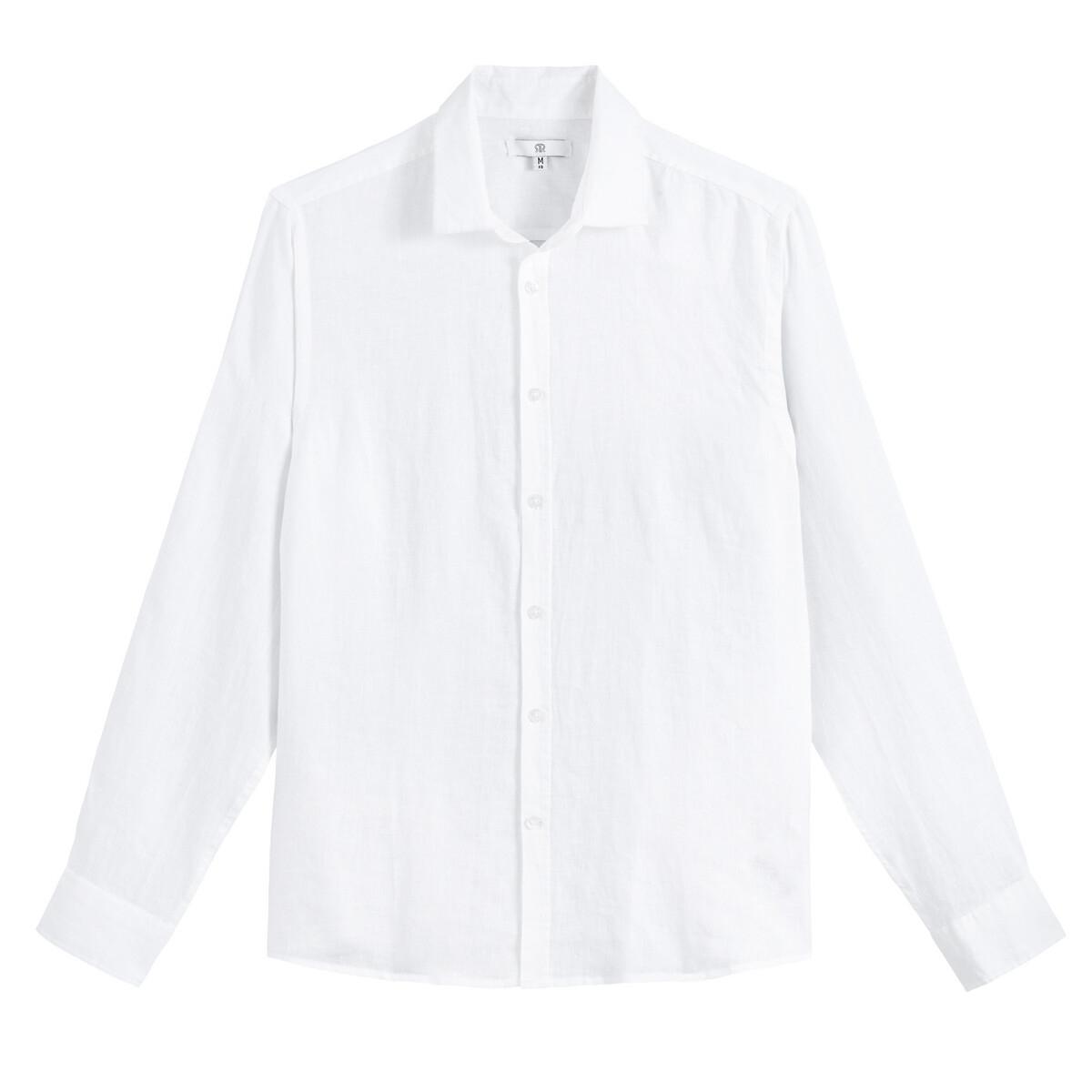 Camisa recta de manga larga de lino