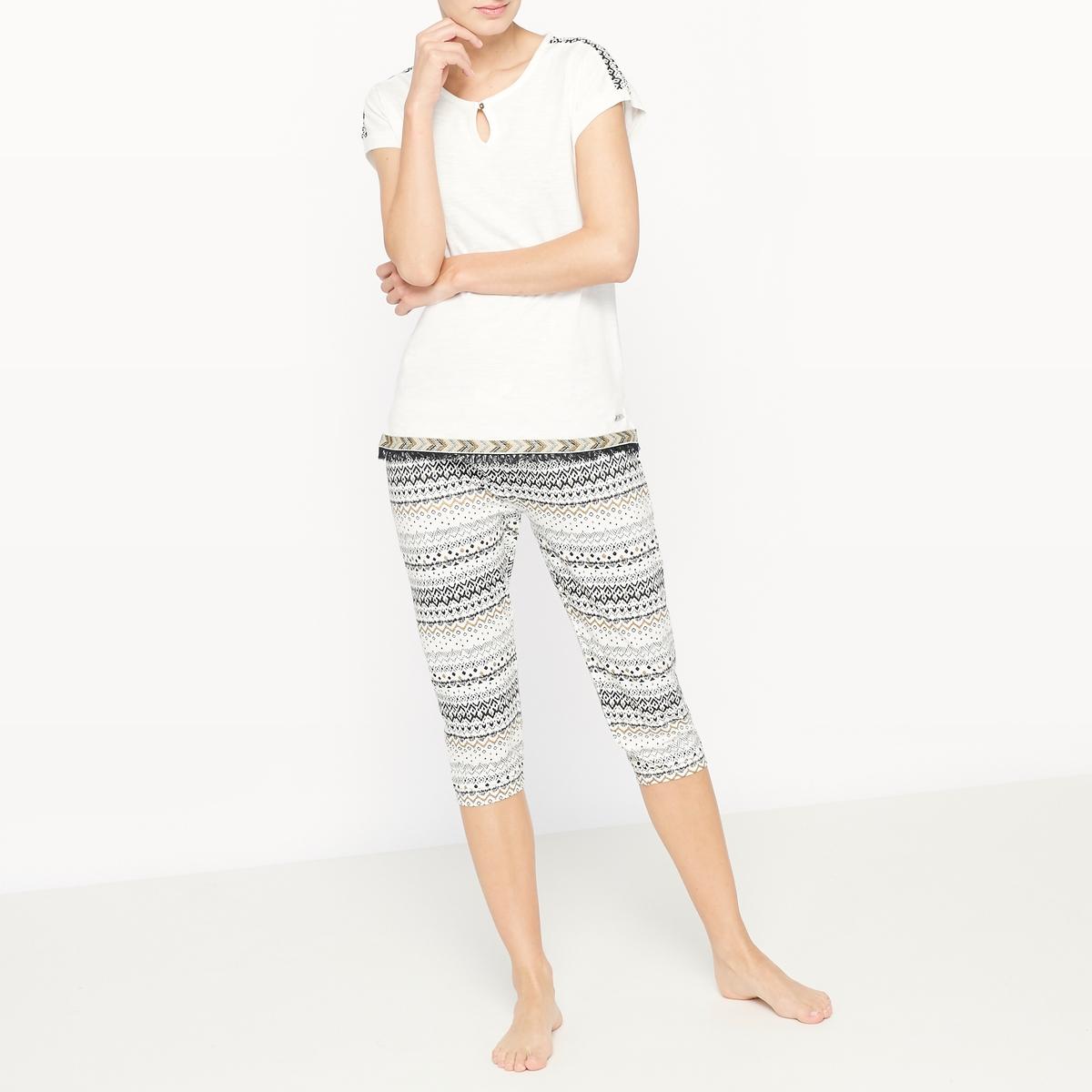 Пижама с короткими рукавами и короткими брюками из хлопка GalonСостав и описание :Материал : 100% хлопокМарка : Dodo Уход :Машинная стирка при 30 °C с вещами схожих цветов<br><br>Цвет: рисунок/фон экрю<br>Размер: L.S