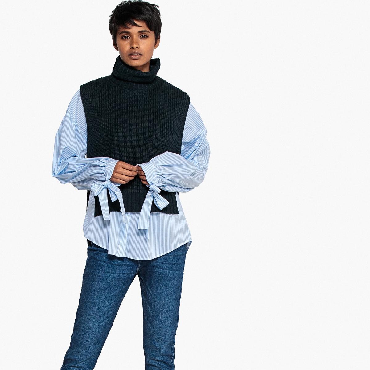 Пуловер La Redoute С воротником с отворотом без рукавов M синий комбинезон la redoute с вышивкой без рукавов m черный