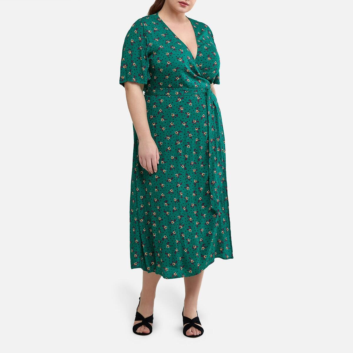 Платье La Redoute С запахом длинное с цветочным принтом 56 (FR) - 62 (RUS) зеленый