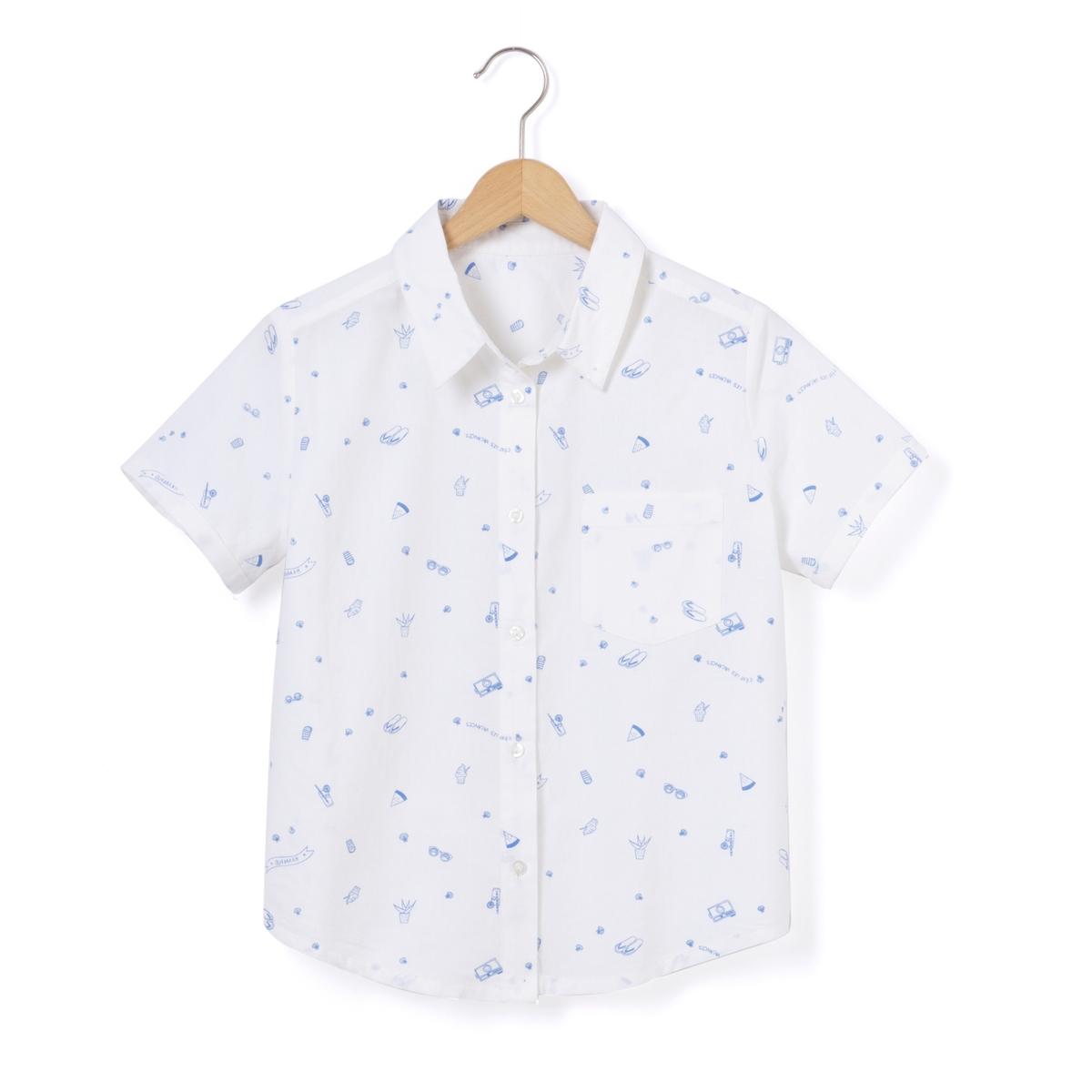 Блузка с воротником-поло и рисунком
