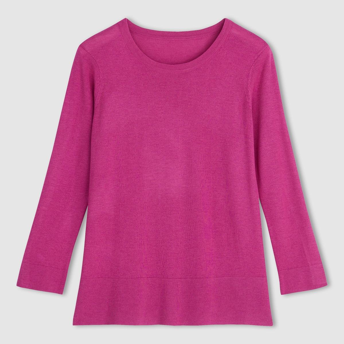 Пуловер 50% вискозы. Длинные рукаваПуловер. 50% акрила, 50% вискозы . Длинные рукава . Закругленный вырез . Контрастный отворот низа и манжет  . Длина  62  см .<br><br>Цвет: ярко-розовый