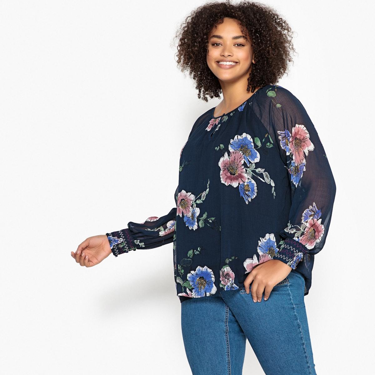 Bluzka z okrągłym dekoltem, kwiatowy wzór, długie rękawy