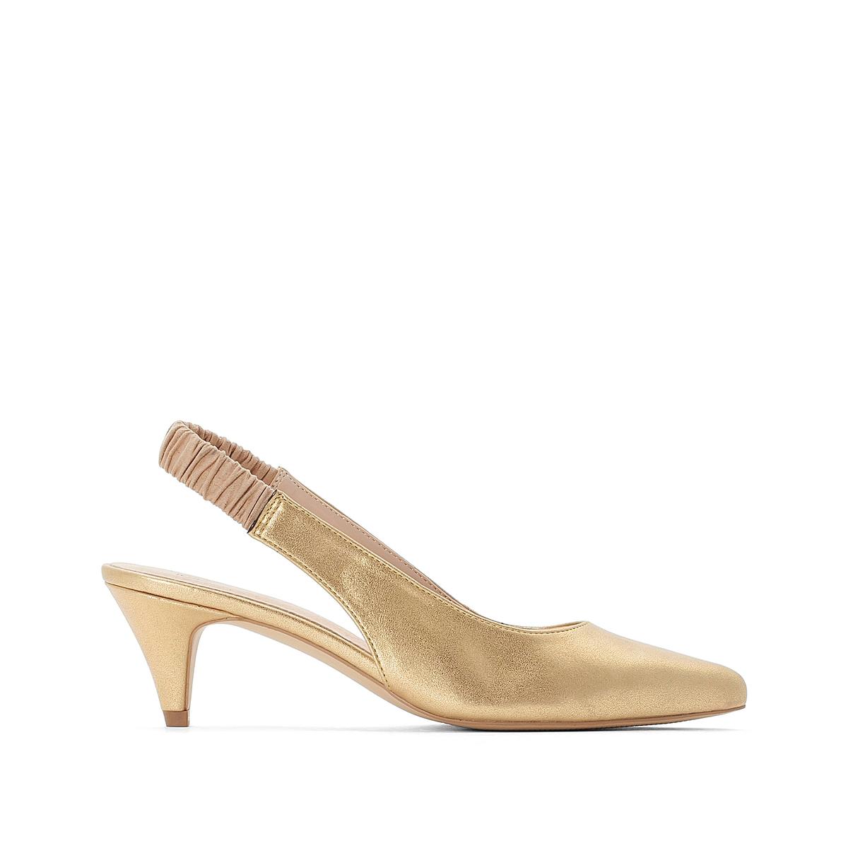 Туфли La Redoute С заостренным мыском и открытым задником 37 золотистый туфли la redoute кожаные с открытым мыском и деталями золотистого цвета 41 черный