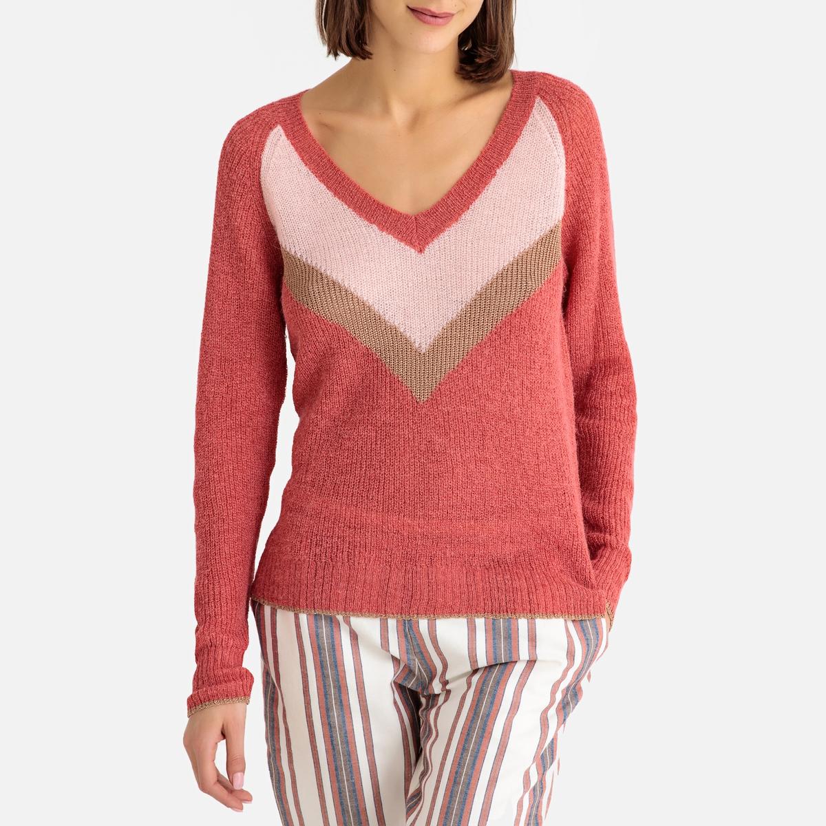 Пуловер с V-образным вырезом из тонкого трикотажа PERNITA