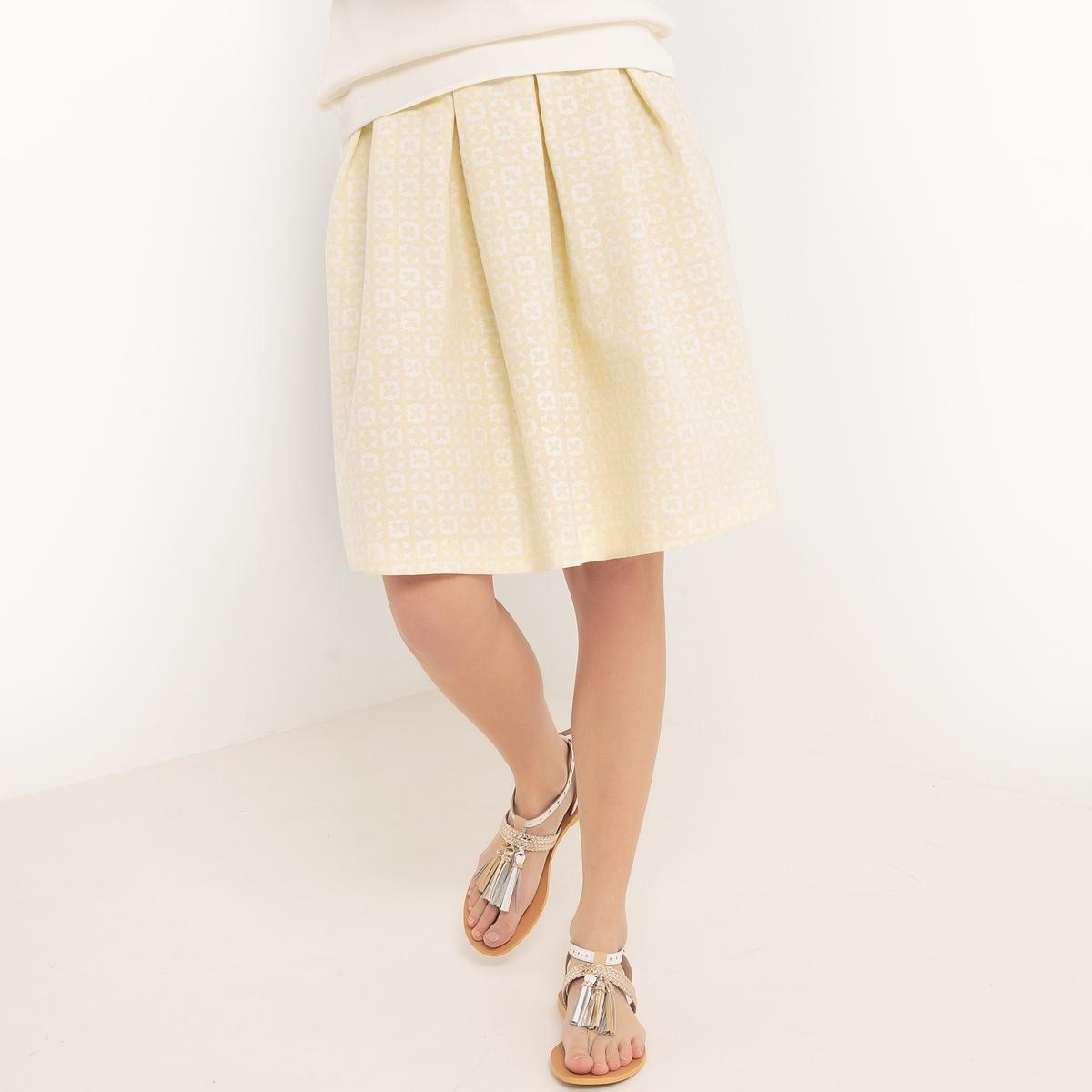 Юбка расклешенная, длина до колен, с цветочным рисунком