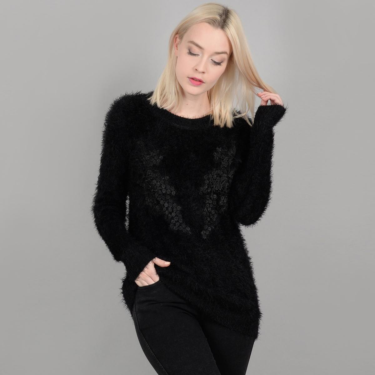 Пуловер La Redoute С круглым вырезом из плотного трикотажа M черный пуловер la redoute с круглым вырезом из плотного трикотажа 3xl бежевый