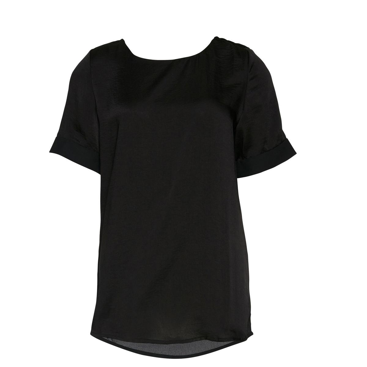 Блузка атласная с короткими рукавами COMONБлузка с круглым вырезом COMON от ICHI. Атласная блузка. Короткие рукава с отворотами. Складка на спине. Слегка закругленный покрой, по спинке длиннее. Состав и описаниеМарка: ICHI.Модель: COMON.Материал: 100% полиэстер.<br><br>Цвет: черный