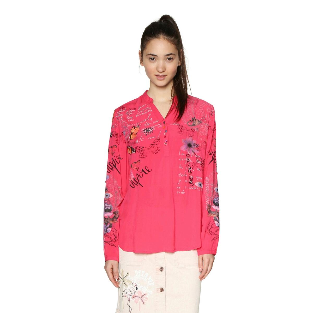 Blusa con cuello de pico y estampado de flores, de manga larga
