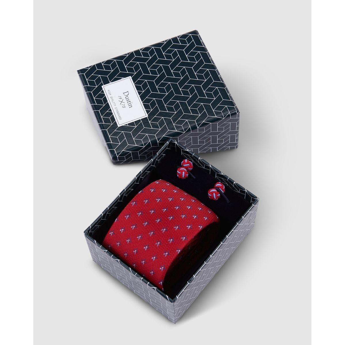 Coffret cravate et boutons de manchette en soie mini fleur