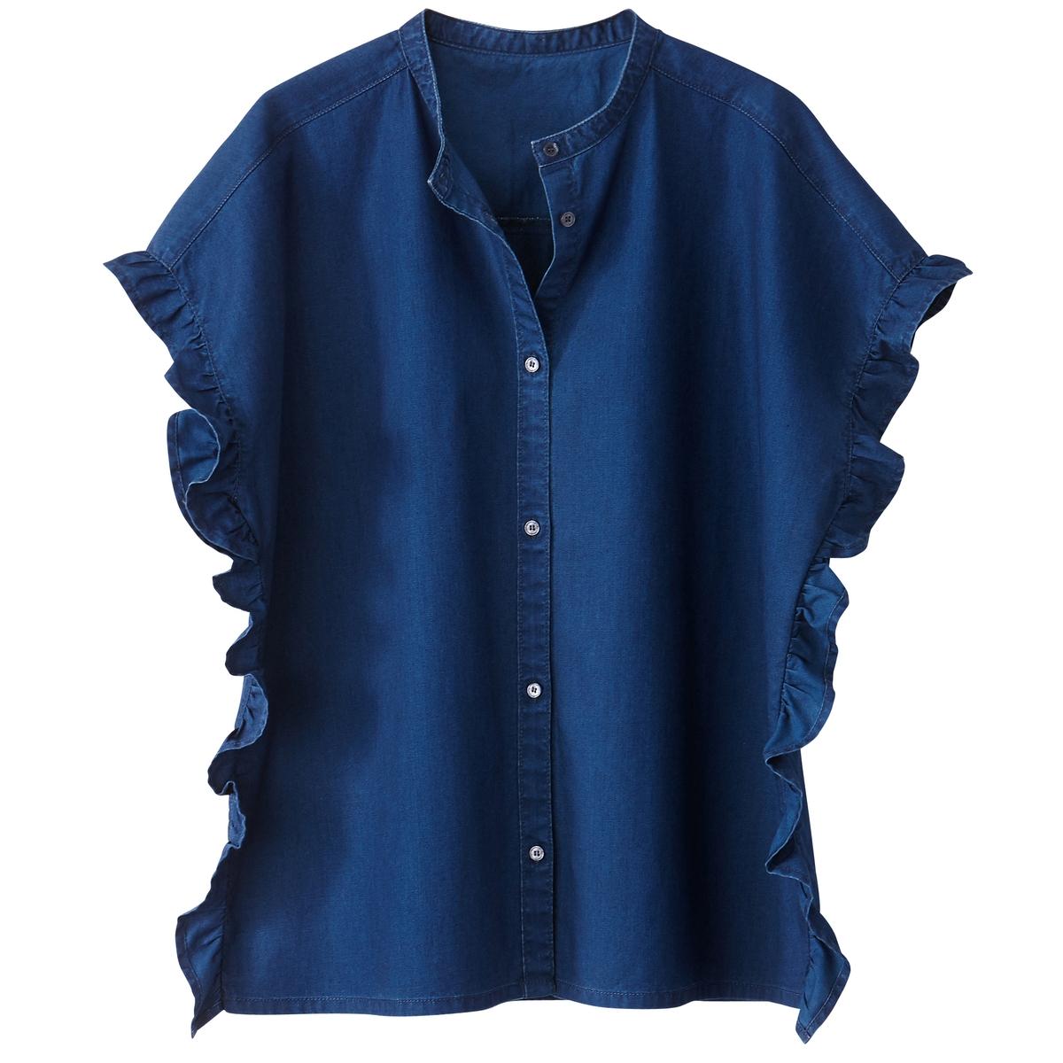 Рубашка с элементами денима, с воланами