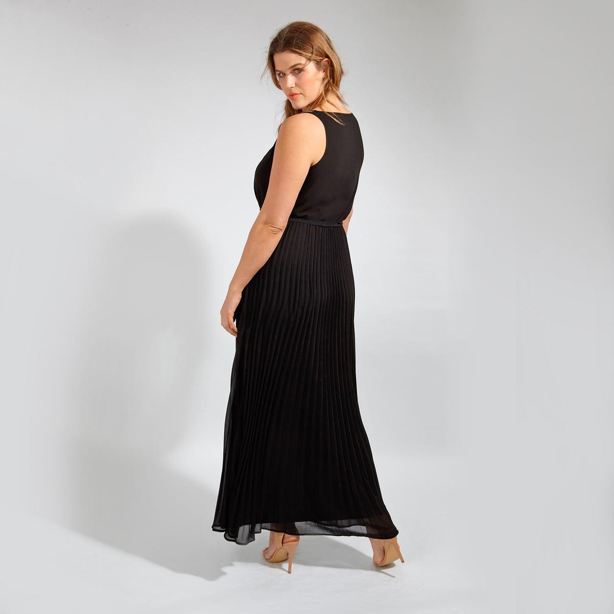 Платье длинноеДлинное платье LOVEDROBE без рукавов. Завязки на поясе. Юбка с эффектом плиссе. Оригинальные детали из бисера на бретелях. 100% полиэстер<br><br>Цвет: черный<br>Размер: 48 (FR) - 54 (RUS)