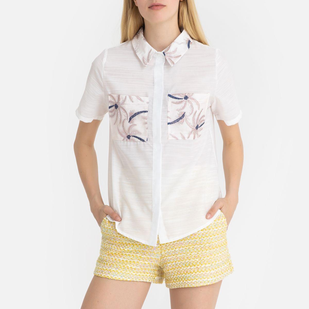 Chemise brodée à manches courtes