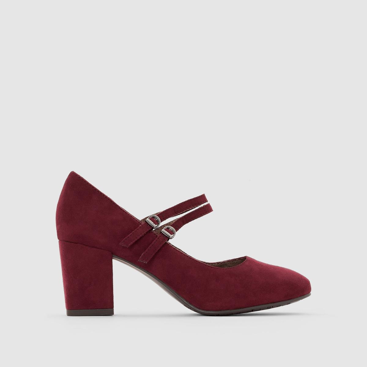 Туфли с ремешками 24416-27Подкладка : текстиль   Стелька : синтетика   Подошва : синтетика   Высота каблука : 6,5 см   Форма каблука : широкий   Мысок : закругленный   Застежка : ремешок/пряжка<br><br>Цвет: бордовый<br>Размер: 38.40