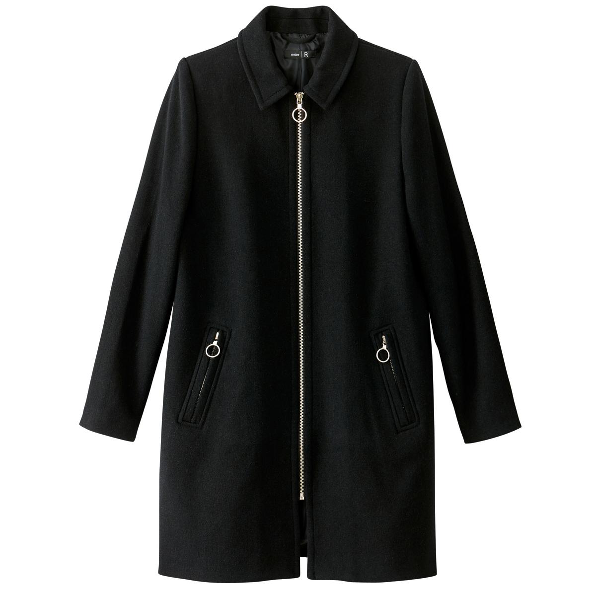 Пальто на молнии из шерстяного драпаОчень теплое пальто средней длины согреет вас этой зимой . В этом пальто на молнии из шерстяного драпа сочетаюся комфорт и стиль . Это элегантное пальто создано для вас .Детали •  Длина : средняя •  Воротник-поло, рубашечный •  Застежка на молниюСостав и уход •  55% шерсти, 4% акрила, 3% полиамида, 38% полиэстера • Не стирать •  Деликатная чистка/без отбеливателей •  Не использовать барабанную сушку   •  Низкая температура глажки •  Длина : 92 см<br><br>Цвет: зеленый,черный<br>Размер: 34 (FR) - 40 (RUS).44 (FR) - 50 (RUS).48 (FR) - 54 (RUS).46 (FR) - 52 (RUS)