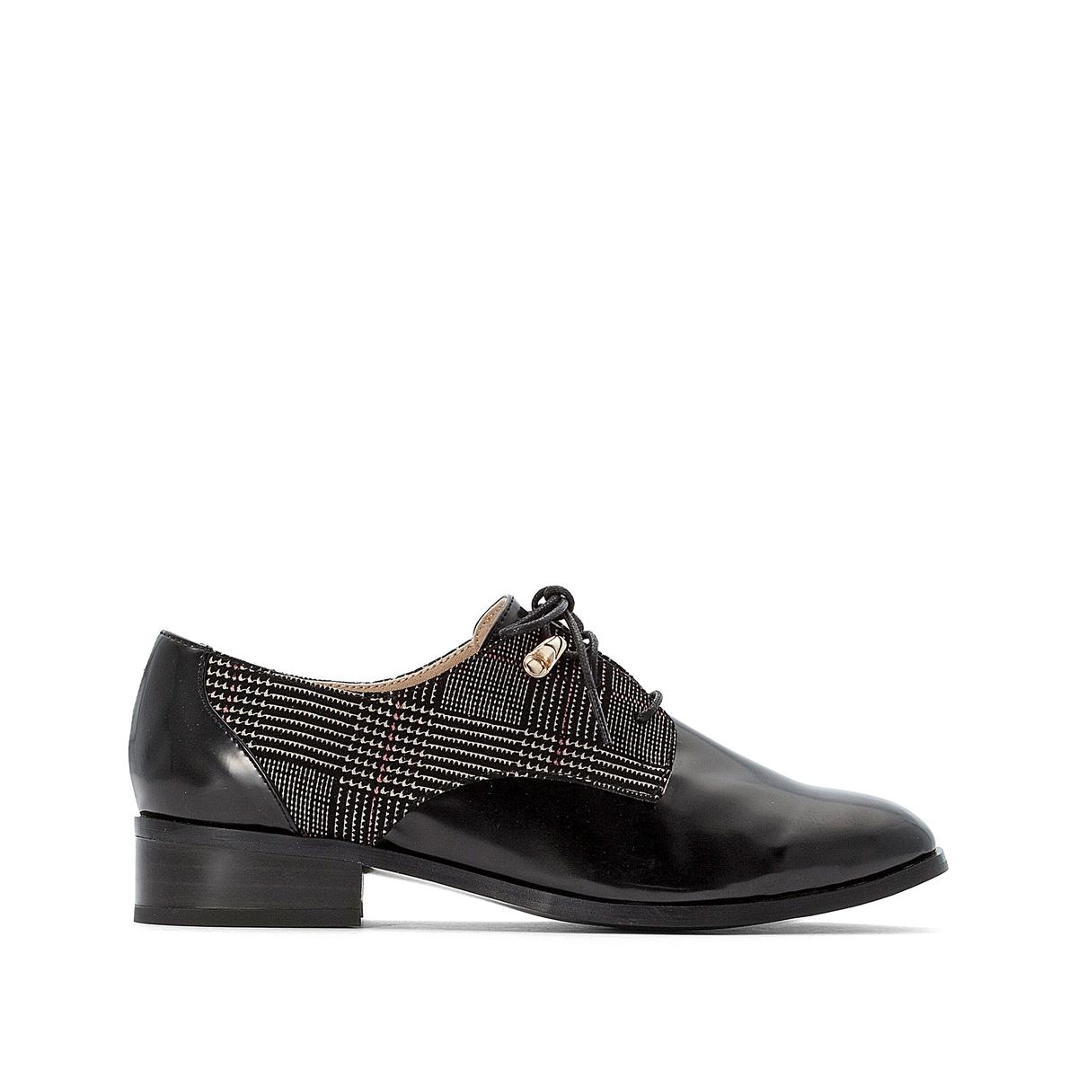 цена Ботинки-дерби La Redoute Двухцветные на шнуровке 36 черный онлайн в 2017 году
