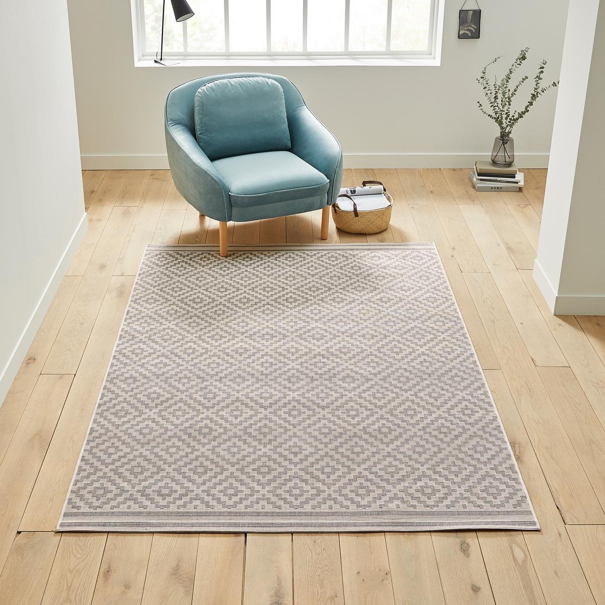 Ковер La Redoute Плоского плетения Akar 120 x 170 см серый ковер la redoute горизонтального плетения с рисунком цементная плитка iswik 120 x 170 см бежевый