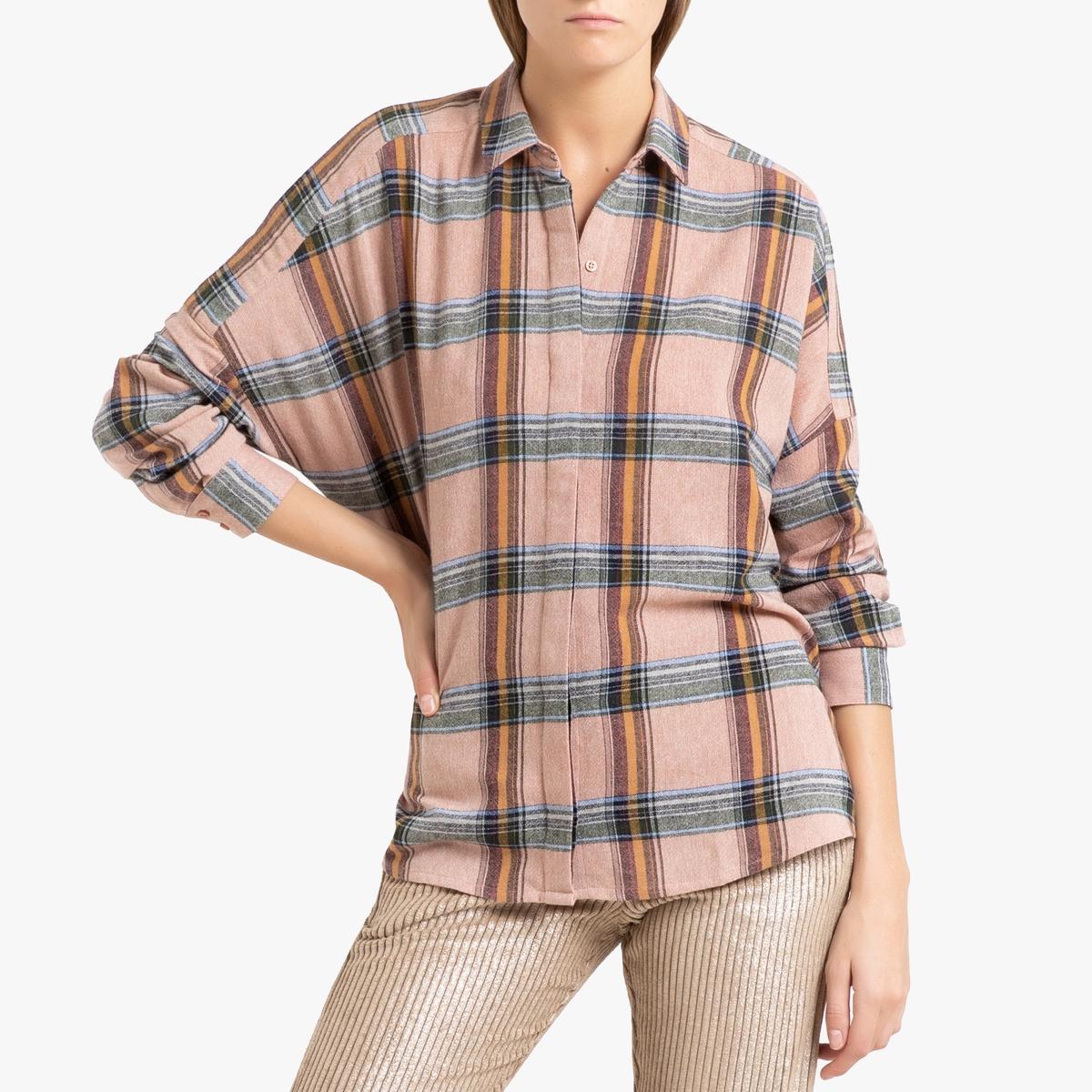 купить Рубашка La Redoute В клетку с длинными рукавами DELIWOOL M розовый по цене 12899 рублей