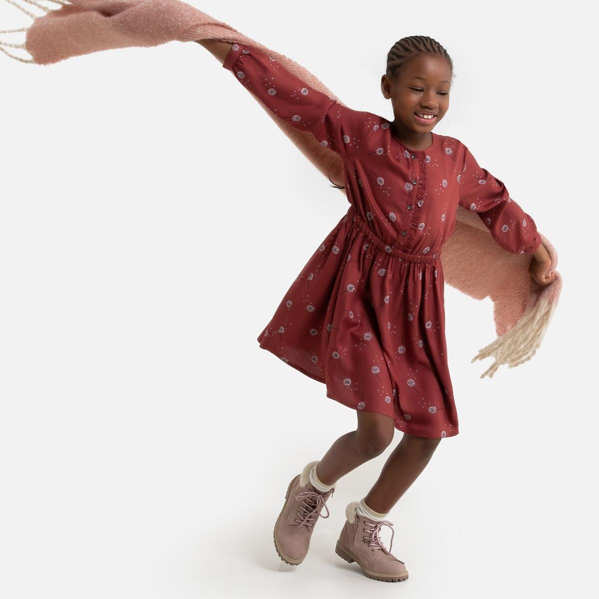 Платье LaRedoute Струящееся с длинными рукавами с принтом 3-12 лет 8 лет - 126 см каштановый платье la redoute расклешенное на тонких бретелях с рисунком 3 12 лет 8 лет 126 см розовый