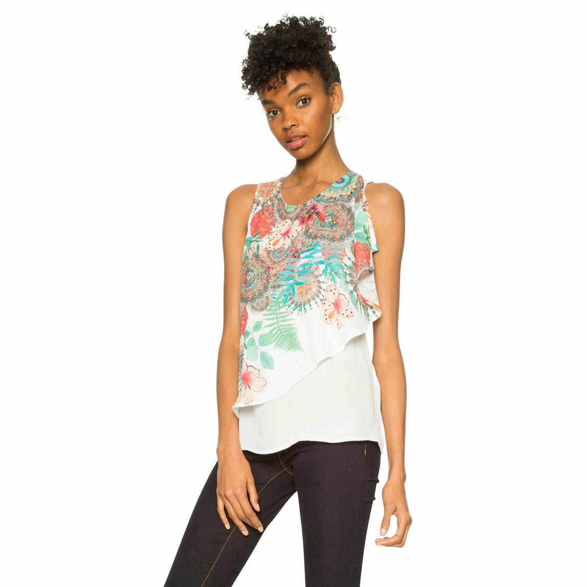 Блузка с круглым вырезом и графическим рисунком, без рукавов блузка однотонная с круглым вырезом без рукавов