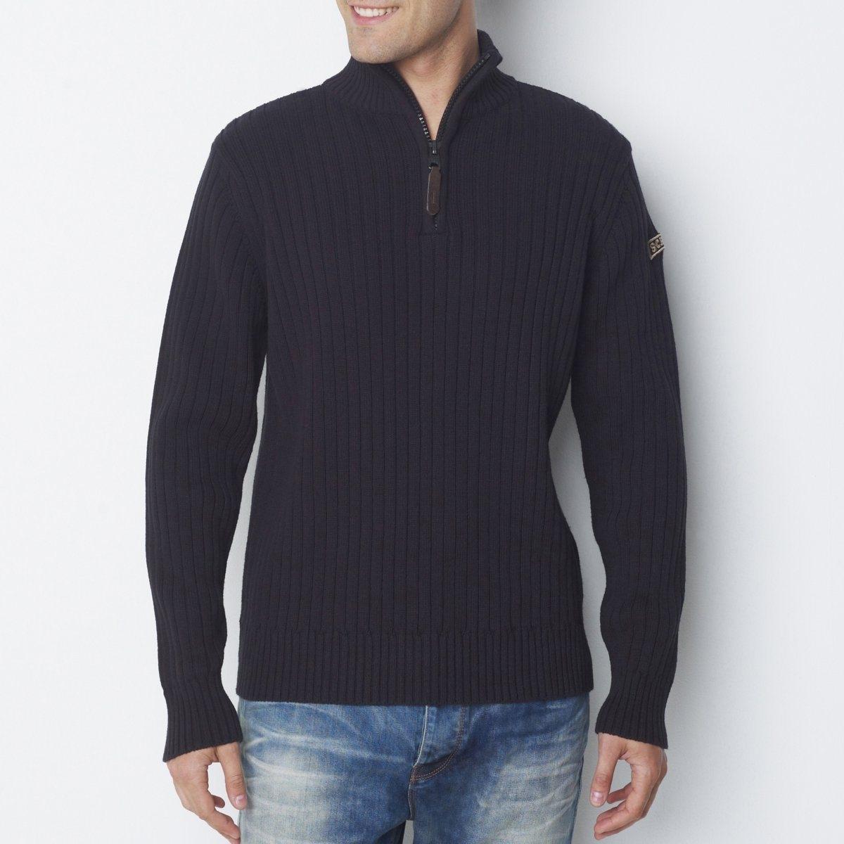 ПуловерПуловер PL RAGE 2 от SCHOTT. 50% хлопка, 50% акрила. Высокий воротник с застежкой на молнию. Стильная модель вне времени!<br><br>Цвет: черный<br>Размер: S.M