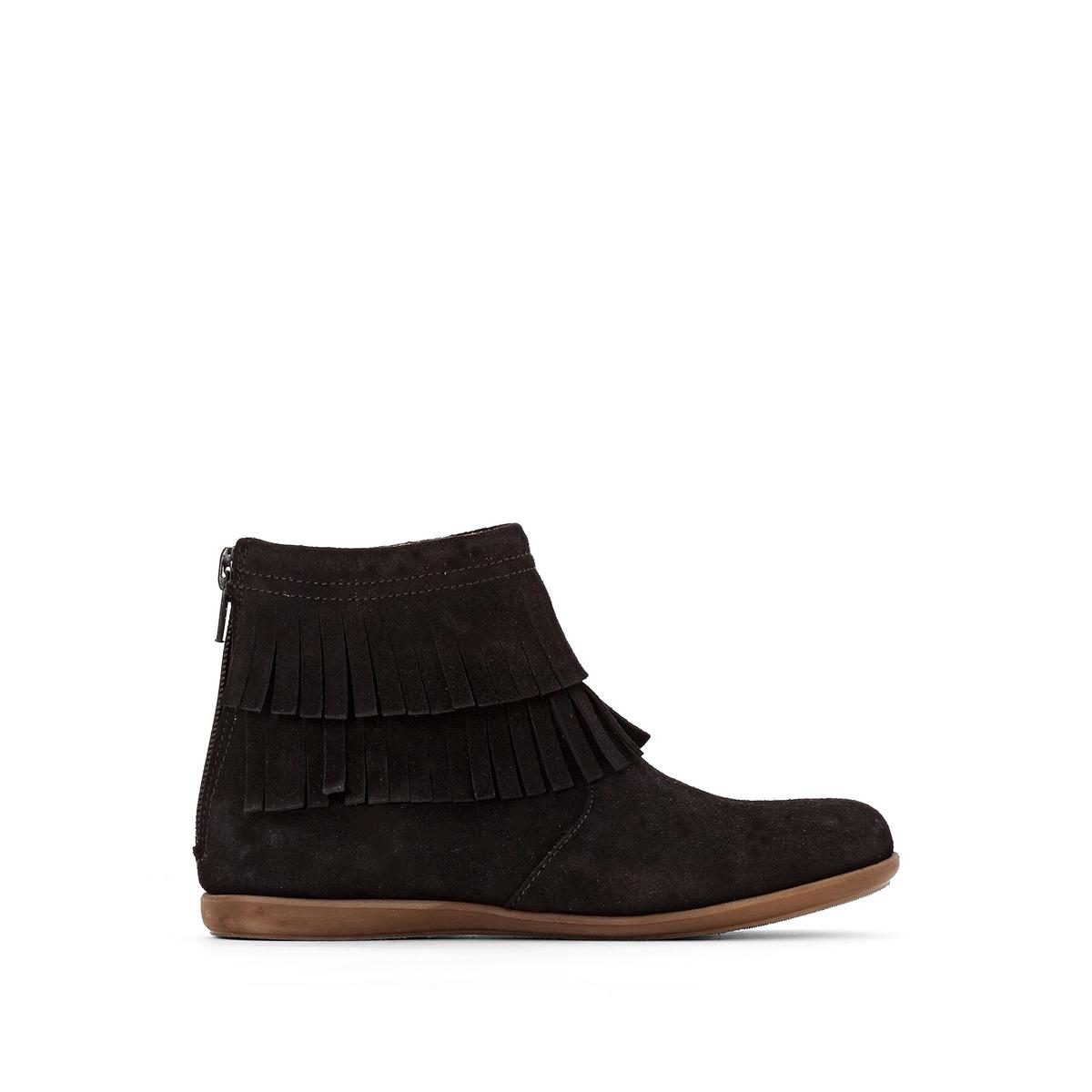 Ботинки La Redoute На молнии из невыделанной яловичной кожи размеры - 38 черный цена