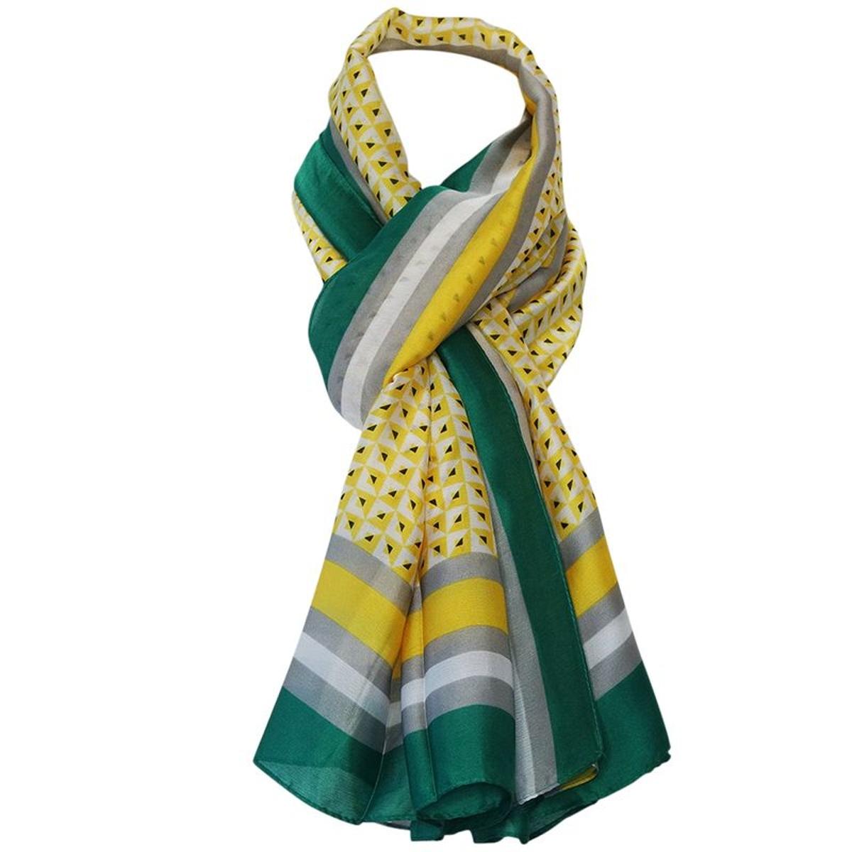 Grand foulard géométrique soie  et