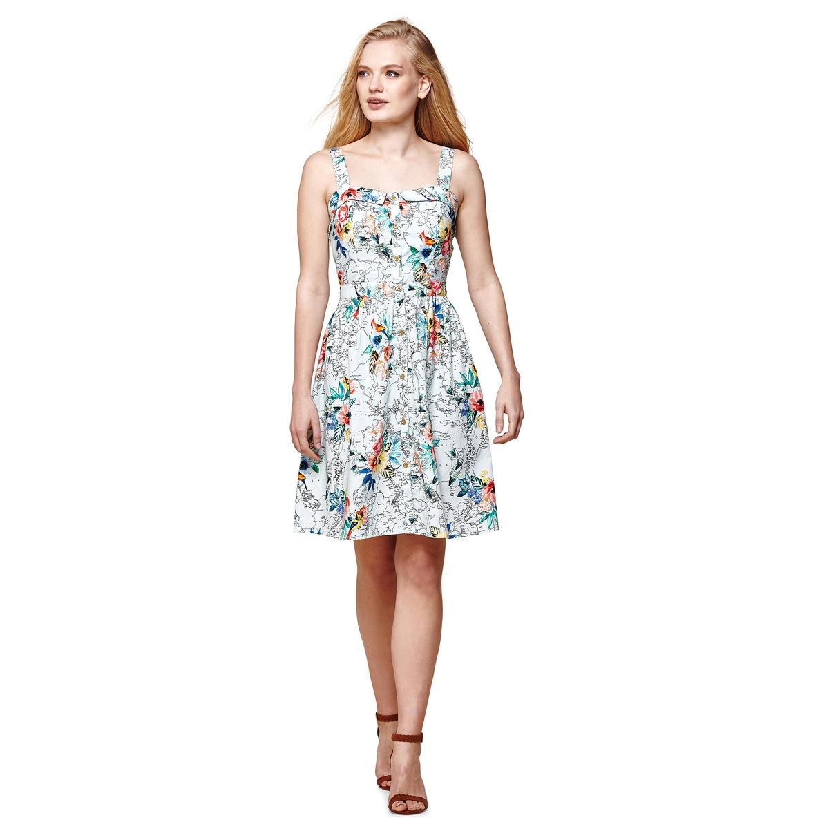Платье расклешенное с тонкими бретелями и цветочным рисунком, 100% хлопок платье yumi yumi платье