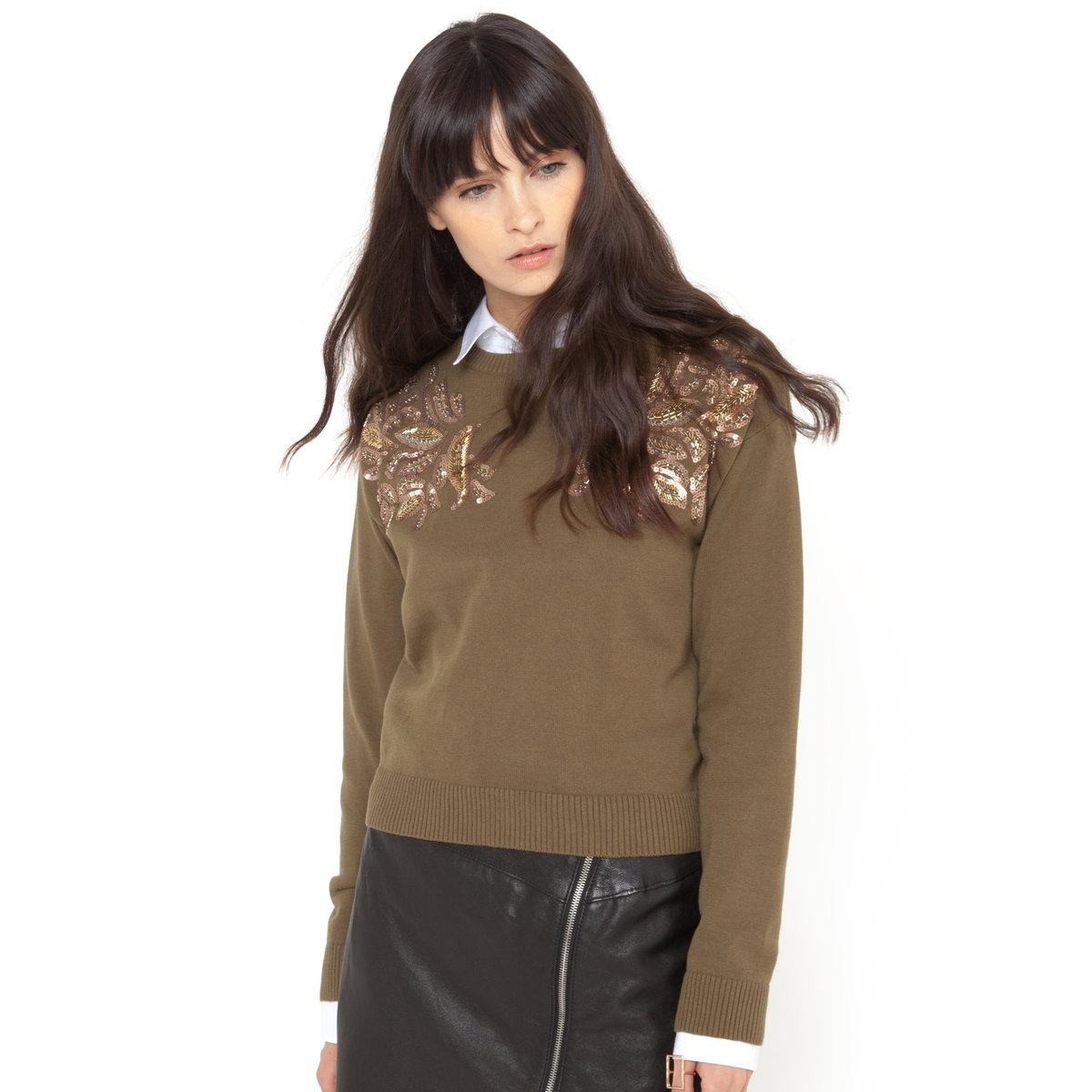 Пуловер с пайеткамиПуловер из 100% хлопка. Пайетки и бусины украшают плечи. Длинные рукава. Круглый вырез. Длина 52 см.<br><br>Цвет: оливковый,оранжевый<br>Размер: 42/44 (FR) - 48/50 (RUS)
